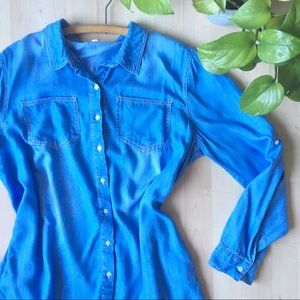 EASEL Chambray Button Long Sleeve Blue Dress L